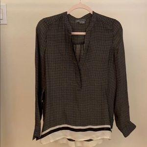 Vince 100% silk blouse with hidden buttons